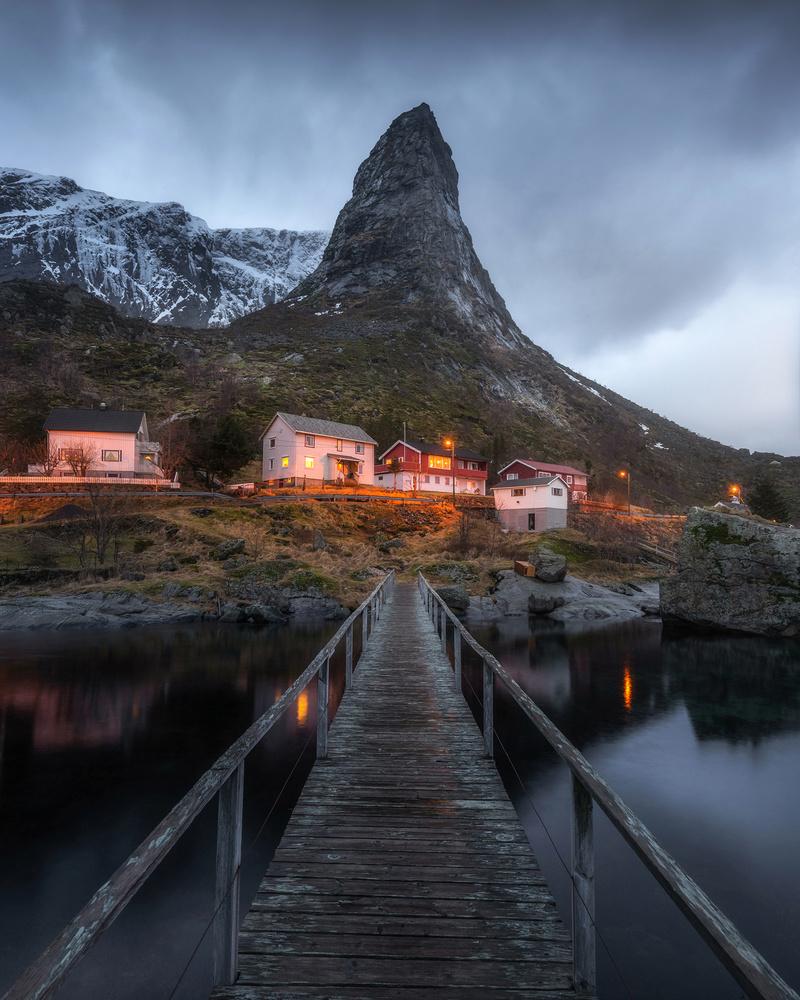Reine Village at Night by Philip Slotte