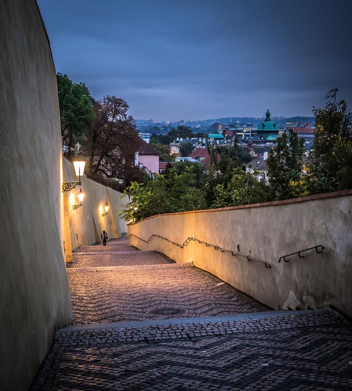 Prague stairway by Trent Cooper