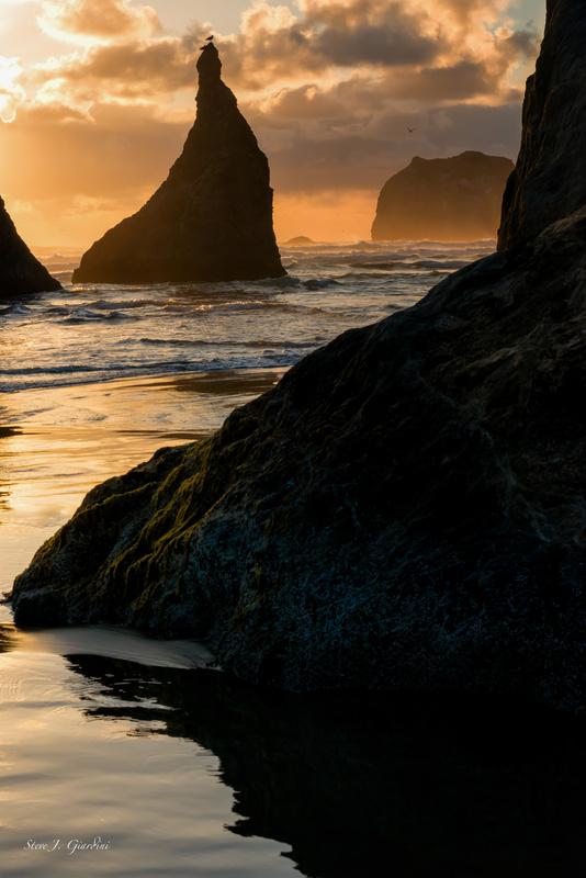 Bandon Beach Sunset (151175LND8) by Steve Giardini