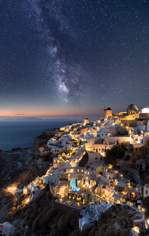 Milky way over Oia, Santorini by Vadim Sherbakov