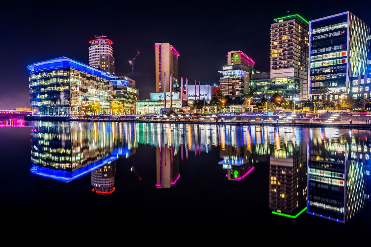 Media City at night by Damien Harrison