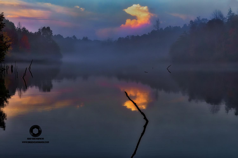 Foggy Sunset by Tim Thompson