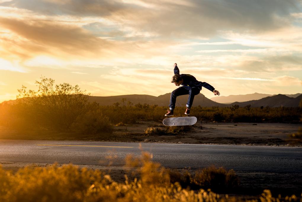 Mojave Desert Kick flip by Will Fisher