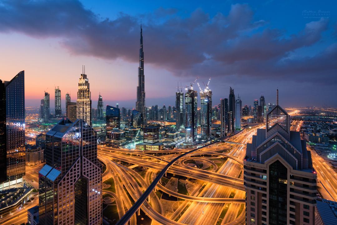 Downtown Dubai Skyline at Sunrise by Mathew Browne