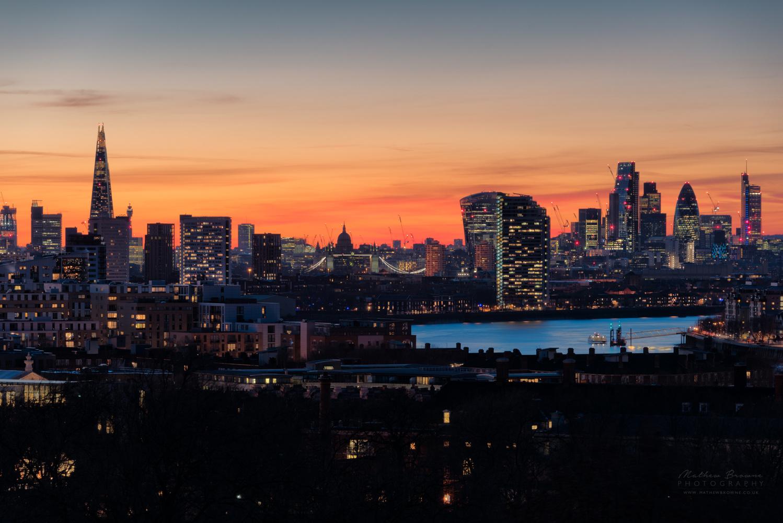 London Skyline from Greenwich Park by Mathew Browne