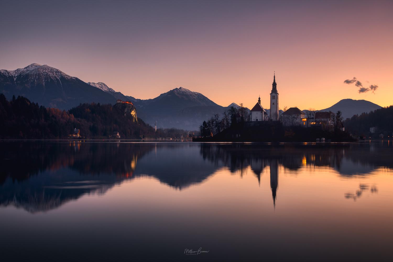 Lake Bled at Dawn by Mathew Browne