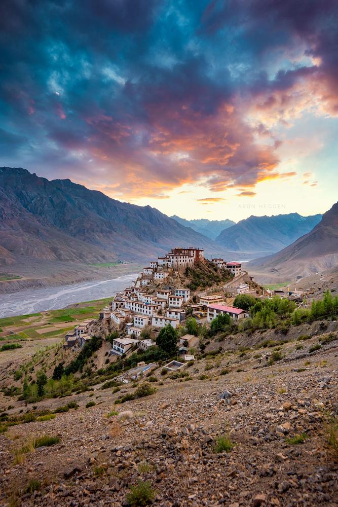 Key Monastery sunset by Arun Hegden