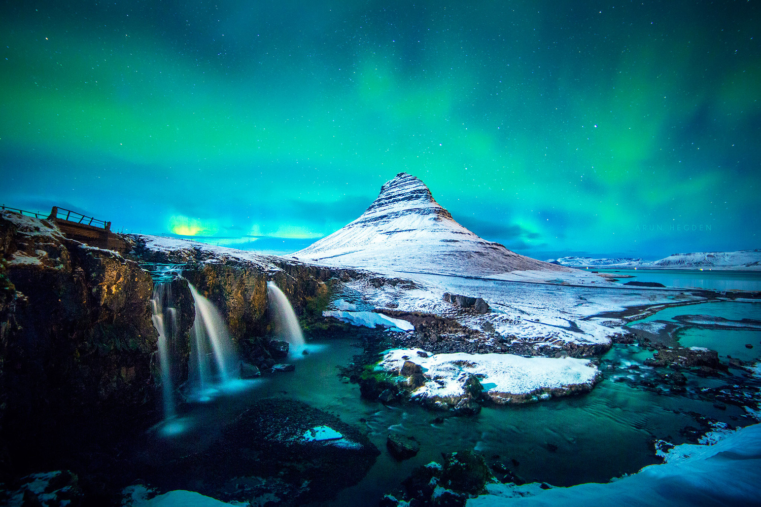 The iconic Kirkjufell under the Northern Lights by Arun Hegden