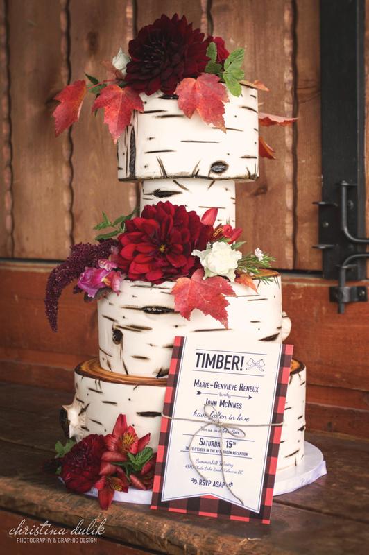 Lumberjack Wedding Cake & Invitation by Christina Dulik