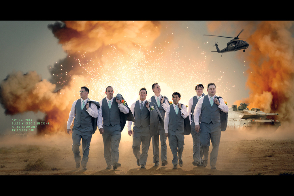 Groomsmen Walking Reservoir Dog-Style After Explosion! by Joel Hernandez