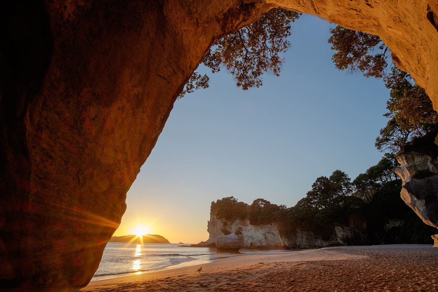 Surise at Cathedral Cove by Tobias Kiemle