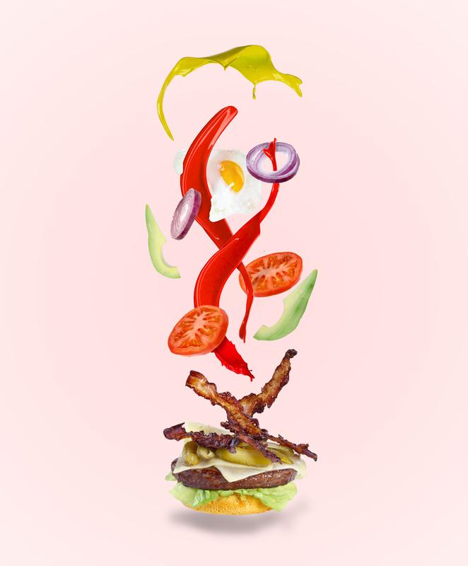 Flying Burger Ingredients by Jonathan Raho
