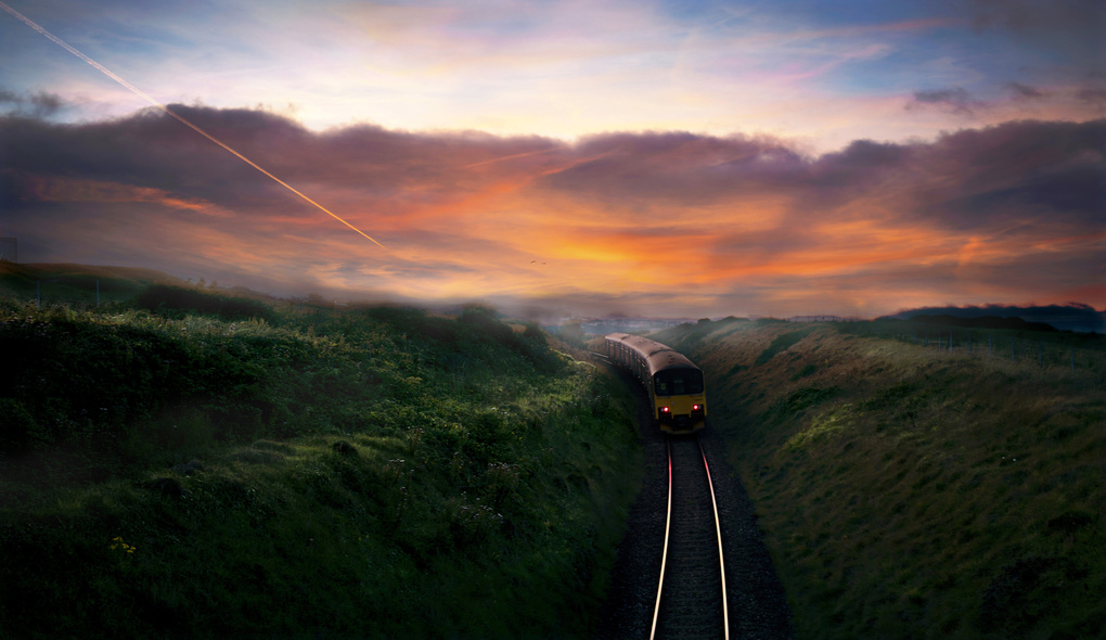 Last Train into the Sunset by Marc Brandrick