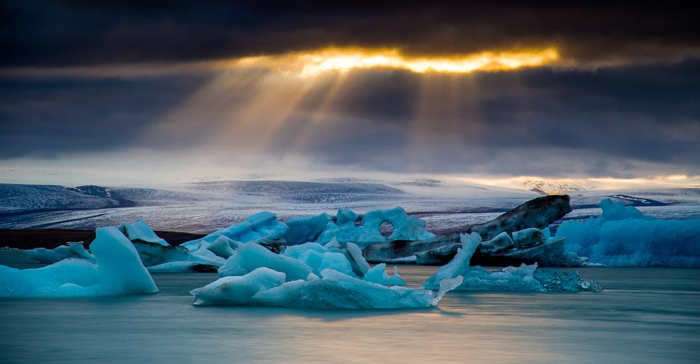 A break in the weather at Jökulsárlón Glacier Lagoon by Amelia Roslyn
