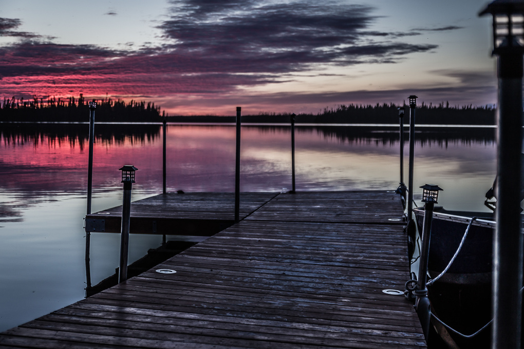 Sunset at the dock by Patrice Brien