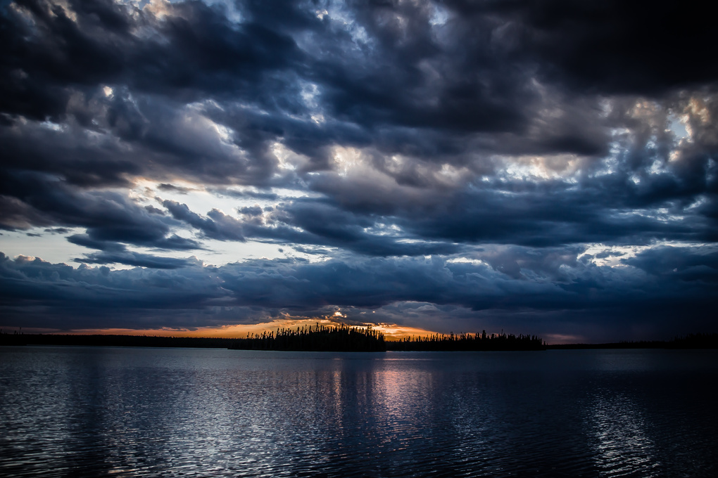 Sunset on lake by Patrice Brien