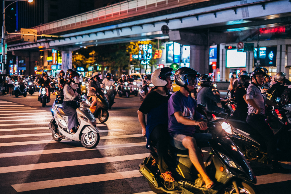 scooters in traffic by phu hy