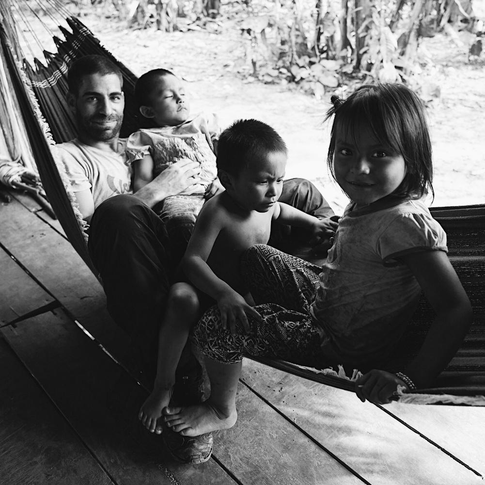 Me and the matsigenka kids by Pedro Pulido