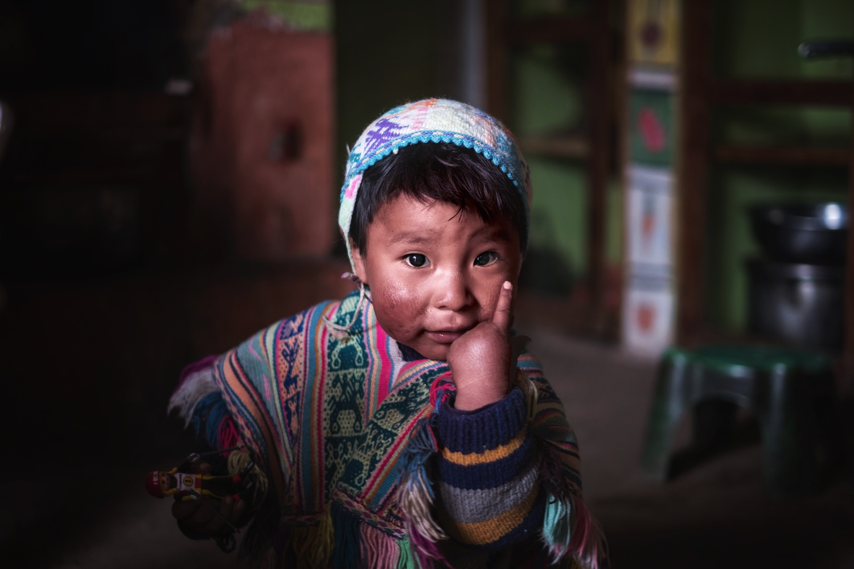 a portrait of a Quechua Boy - Abel by Pedro Pulido
