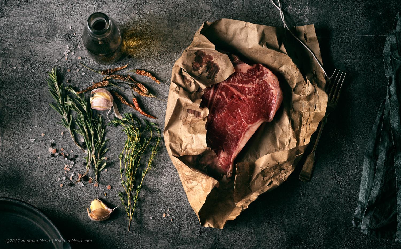T bone steak, by Hooman Mesri
