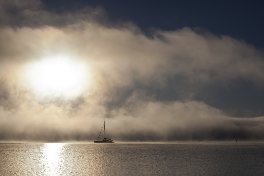 Yacht in early morning Turneresque mist by Sheila Smart