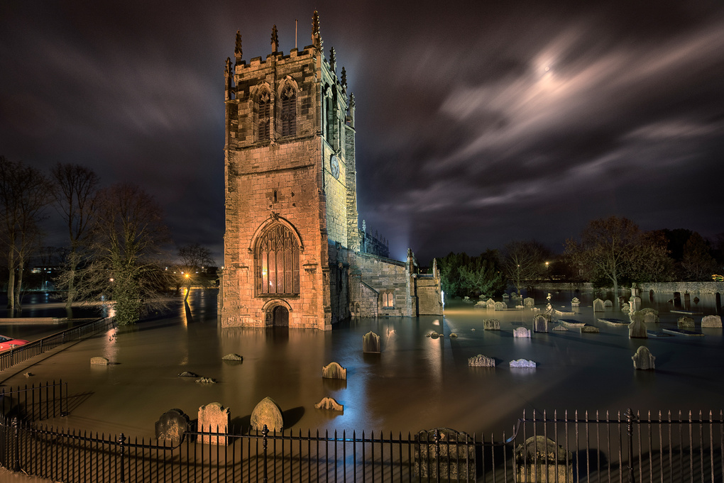 Flooding at St Mary's Church, Tadcaster. by Giles Rocholl
