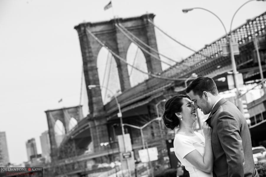 Brooklyn Bridge Bride and Groom by Joe Dantone