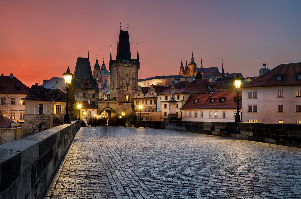 Sunset at the Charles Bridge in Prague by Kuba Spatny