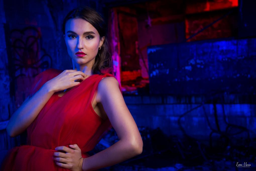 Split lighting beauty shot by Moriah Merino