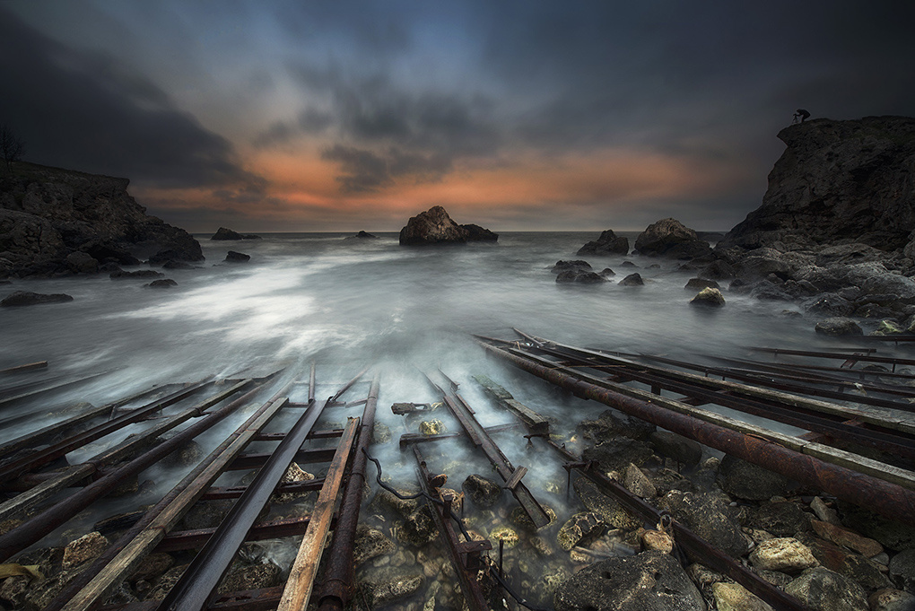 Rails into the sea by Krasi St M