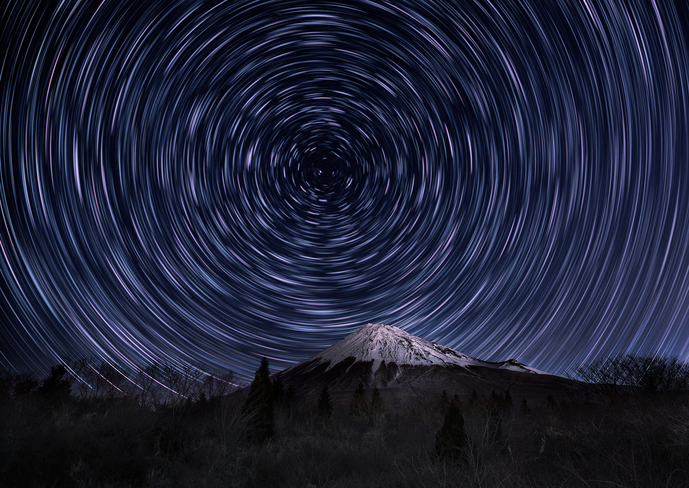 Startrails over Mt. Fuji by Shumon Saito