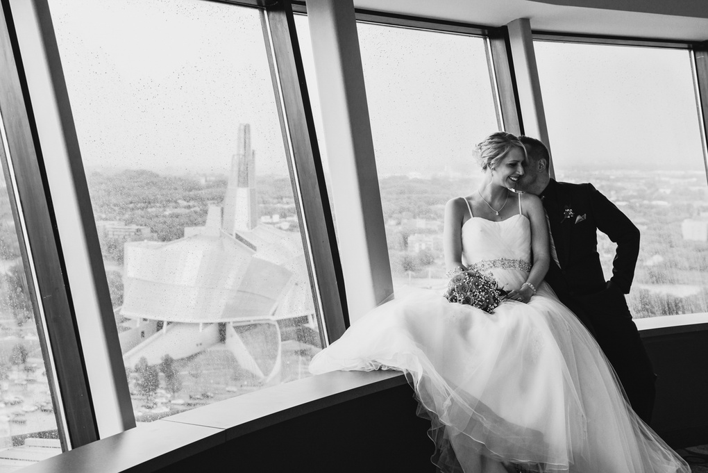Wedding Photo above Winnipeg by Joel Boily