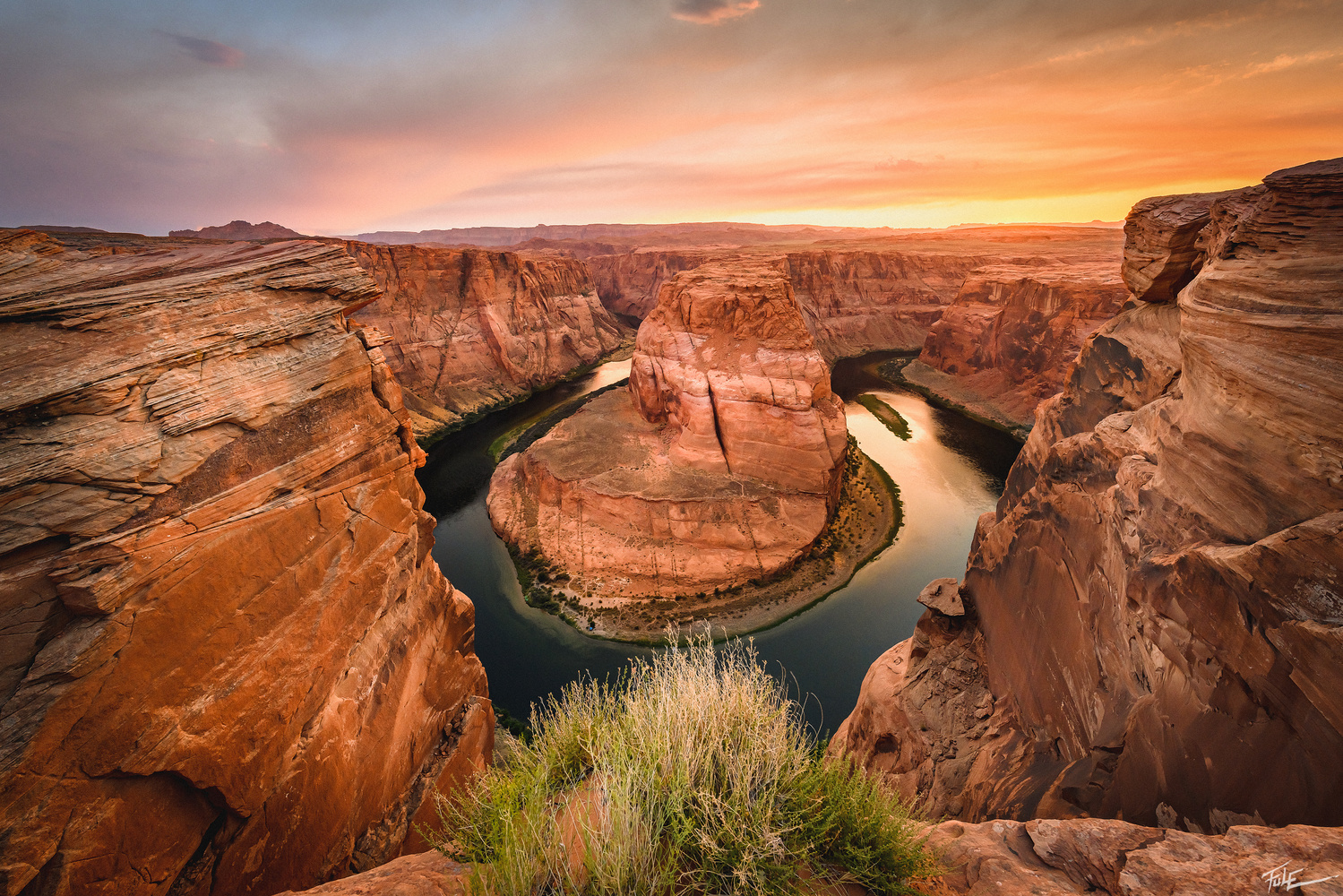 Sunset at Horseshoe Bend during wild fire by Phuoc Le