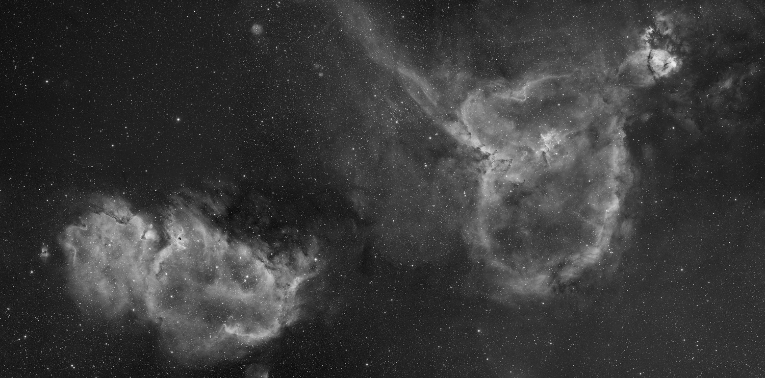 The heart and soul nebula, a 6 panel mosaic In hydrogen alpha by Josh Borup