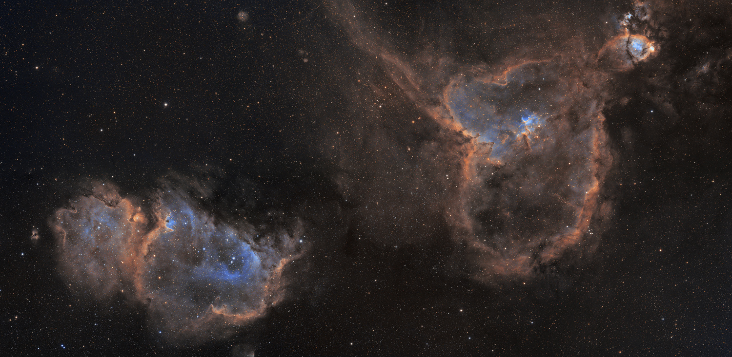 The Heart and Soul Nebulae in Narrowband by Josh Borup