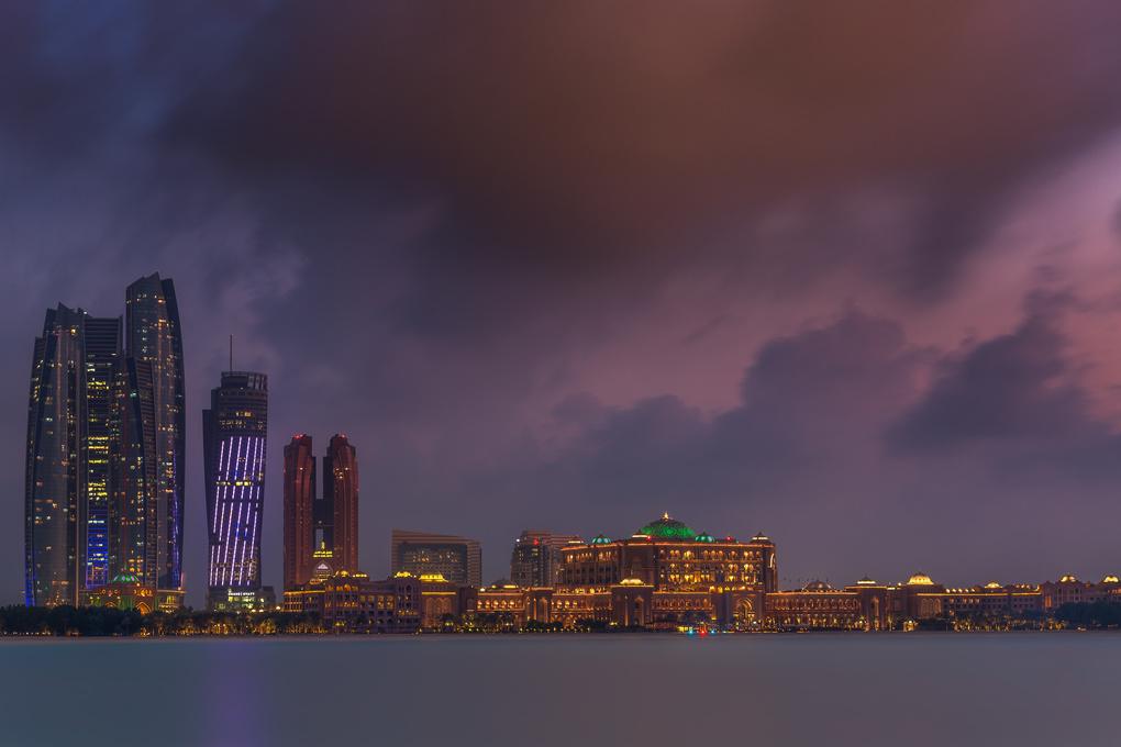 Abu Dhabi at night by Walid Ahmad