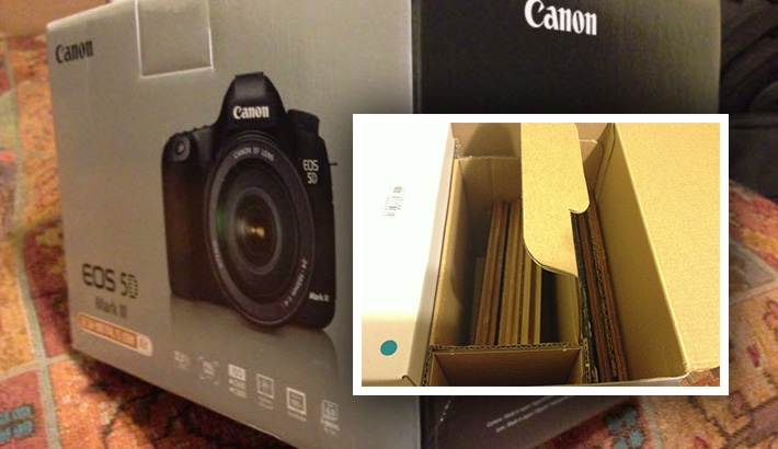 New 5D Mark III Box Arrives Full of Laminate Flooring, No Camera