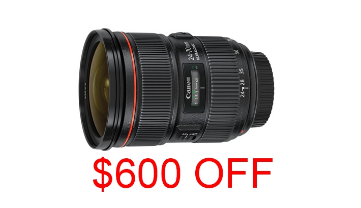Get $600 Off the Canon 24-70mm f/2.8 L II Through January 4