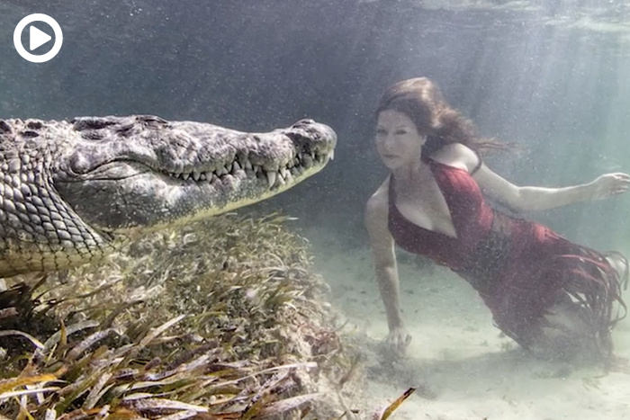 Photographer Shoots Underwater Glamour Pictures With Crocodiles and No Safety Gear
