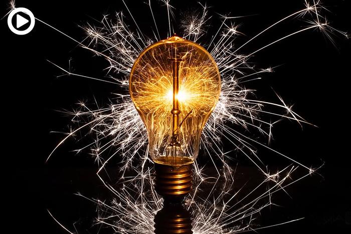 Creative Light Bulb Sparkler Shoot In Studio Space