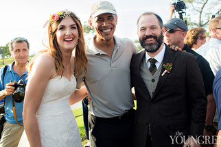 President Obama Greets Couple before Wedding Ceremony