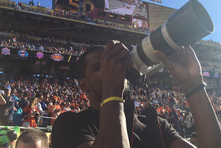 Basketball Star Kevin Durant Hits the Sidelines as Super Bowl Photographer