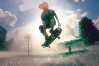 High Speed Cameras And Colored Powder Make For A Surreal Skateboarding Video