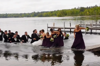 Dock Collapses Under Wedding Party Posing for Photo