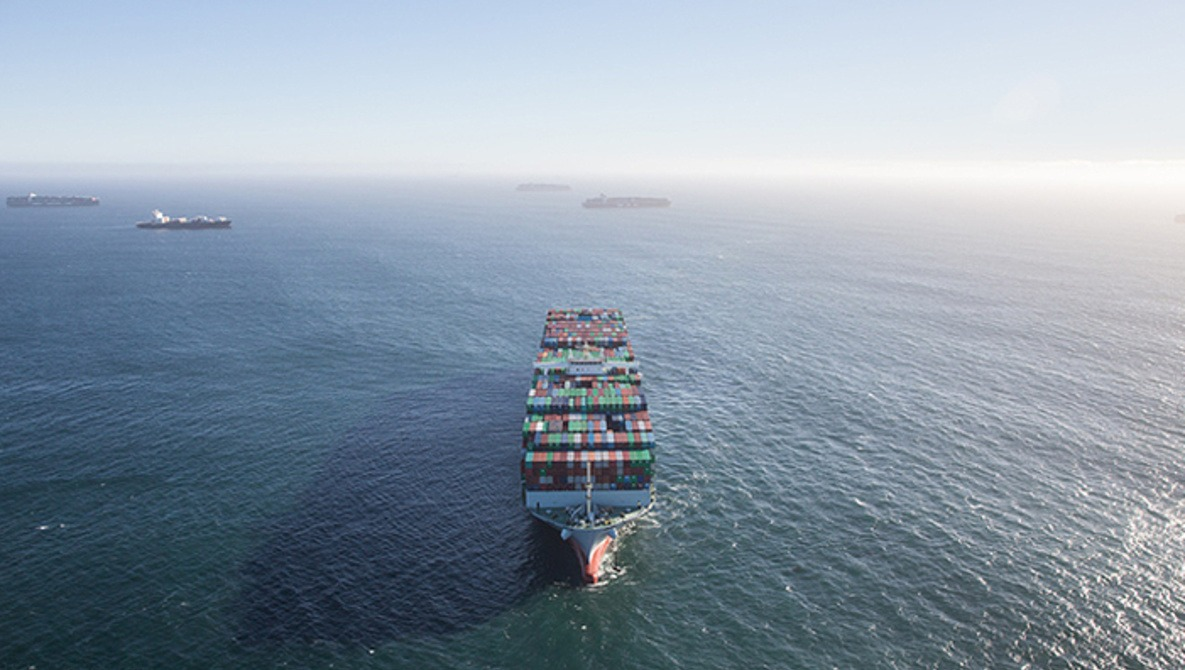 Amazing Aerial Imagery of Overwhelming Trade Traffic off the Coast of