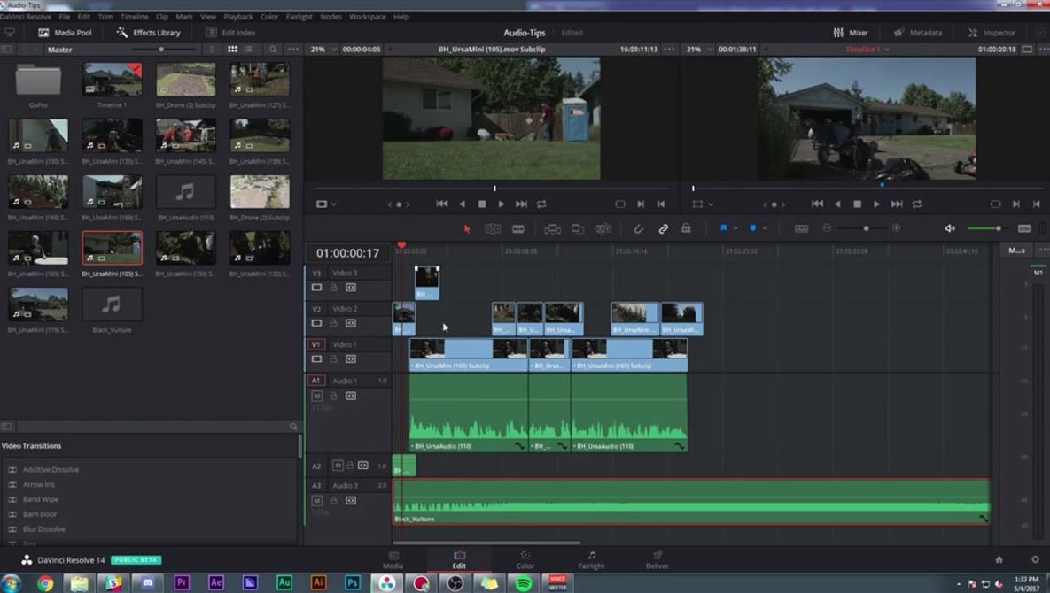 Quick Overview of DaVinci Resolve 14 Audio Editing