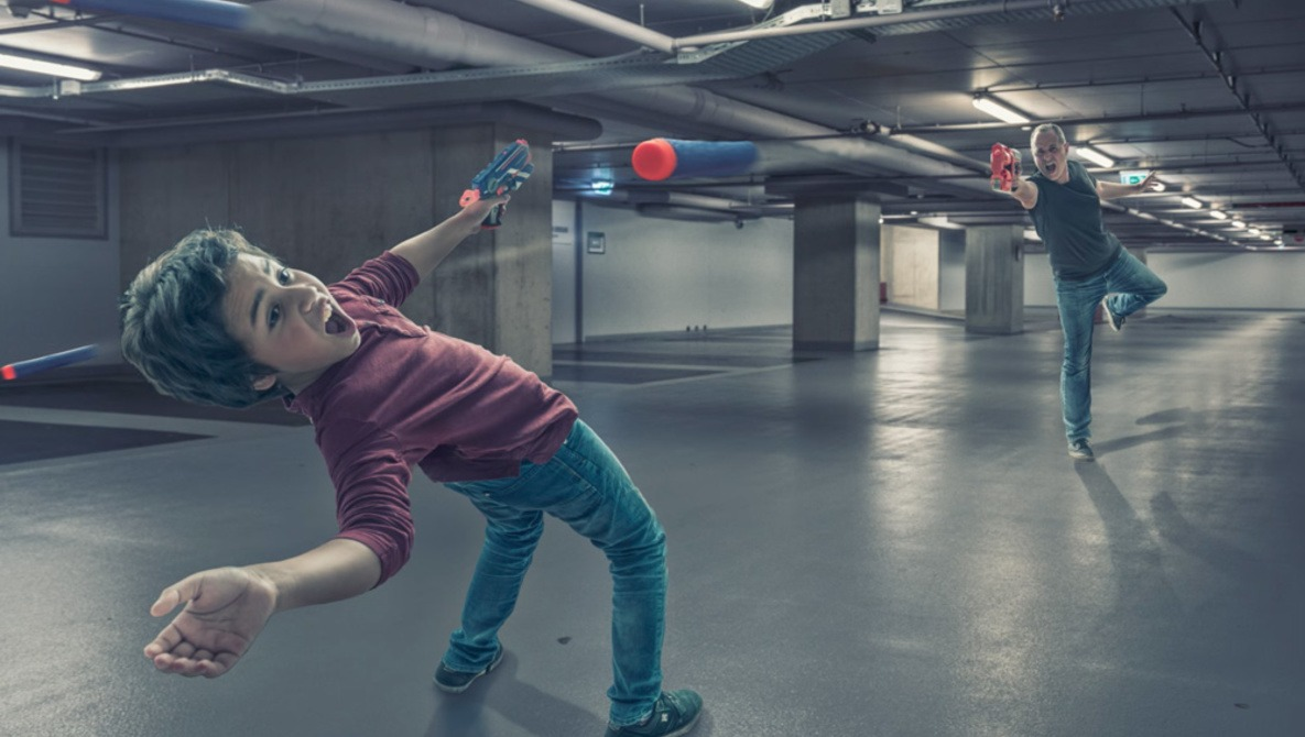 A Father and His Son Recreate 'The Matrix' Bullet Time Scene With the