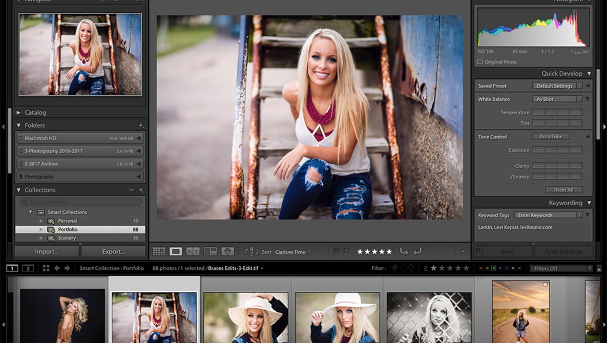screenshot of editing image of a girl in lightroom