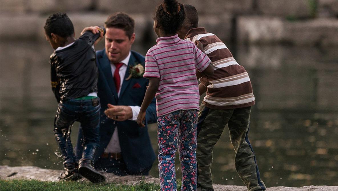 Photographer Captures Groom Saving Child During Photoshoot