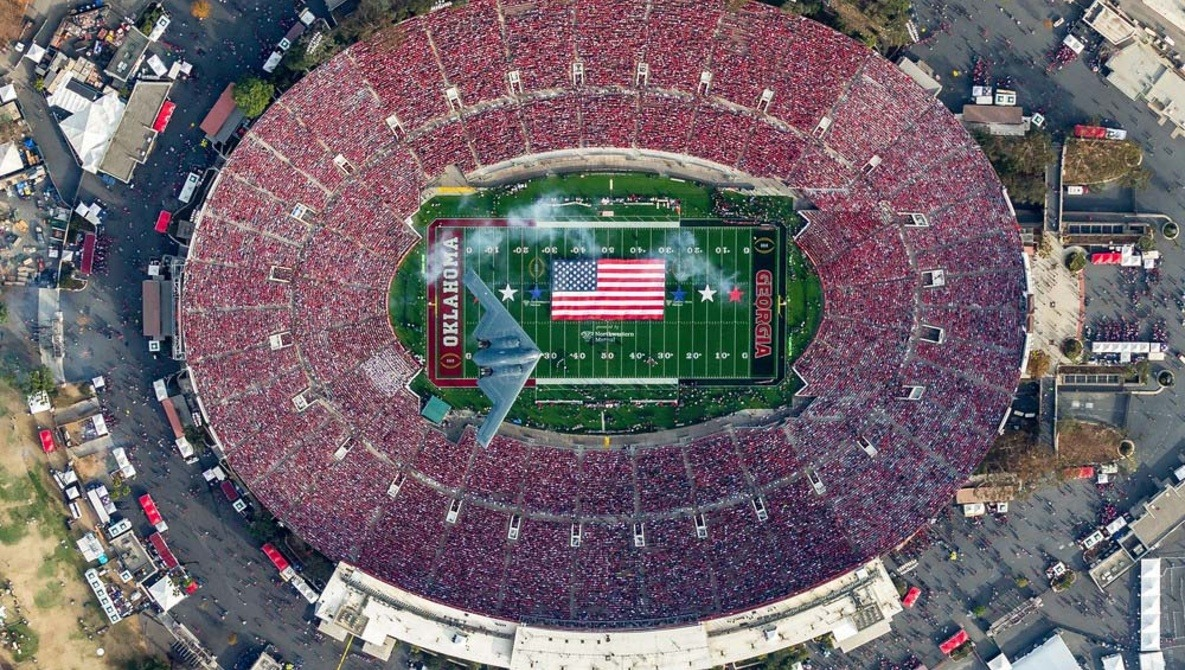 Photographer Catches Stealth Bomber Flying Over Stadium, and It's Not a Drone Shot